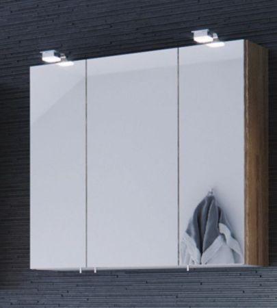 """Badmöbel Set """"Salona"""" weiß Hochglanz und Sonoma Eiche, 5-teilig (170x135 cm) inkl. Waschbecken und Beleuchtung"""