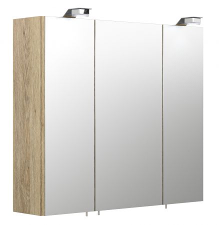 """Badezimmer: Spiegelschrank """"Salona"""" Sonoma Eiche (70x62 cm) inkl. Beleuchtung"""
