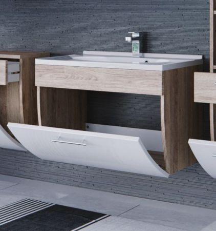 Badmöbel Waschplatz Salona inkl. Waschbecken in Sonoma-Eiche-weiß Hochglanz