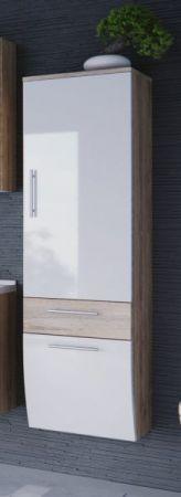 Badmöbel Hochschrank Salona in Sonoma Eiche und weiß Hochglanz