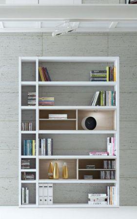 Wohnwand Bücherwand MDor Dekor Lack weiß matt schwarz LED-Beleuchtung Breite 147 cm