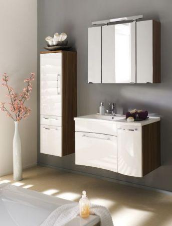 Badmöbel Waschplatz Laonda inkl. Waschbecken in Hochglanz weiß und Walnuss Dekor