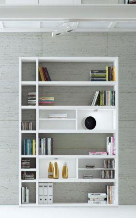 Wohnwand Bücherwand MDor Dekor Lack weiß Hochglanz schwarz LED-Beleuchtung Breite 147 cm