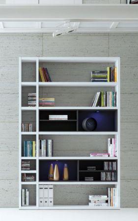 Wohnwand Bücherwand MDor Dekor Lack weiß matt LED-Beleuchtung Breite 147 cm