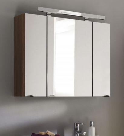 Badmöbel Spiegelschrank Laonda inkl. Beleuchtung in Walnuss 3-türig