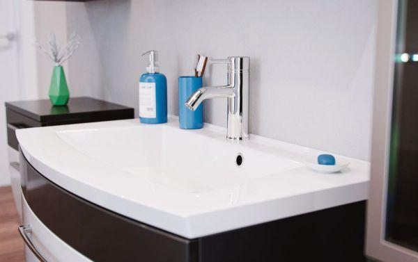 Badmöbel Set Rima in anthrazit und weiß Hochglanz Badkombination 7-tlg. inkl. Waschbecken und Spiegellampe 192 x 190 cm