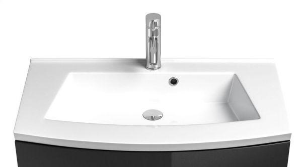 Badmöbel Rima Waschplatz weiß Anthrazit Hochglanz inkl. Waschbecken