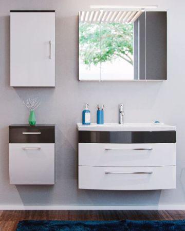 Badmöbel Hängeschrank Rima in anthrazit und weiß Hochglanz Badschrank 40 x 53 cm Badezimmer Kommode hängend