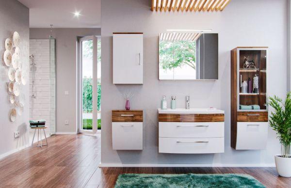 Badmöbel Set Rima in Walnuss und weiß Hochglanz Badkombination 7-tlg. inkl. Waschbecken und Spiegellampe 192 x 190 cm