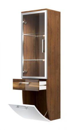 badm bel hochschrank in walnuss wei hochglanz. Black Bedroom Furniture Sets. Home Design Ideas