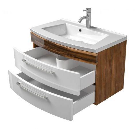 Waschbeckenunterschrank Rima in Walnuss und weiß Hochglanz Waschplatz hängend inkl. Waschbecken Set 2-tlg. 82 x 54 cm