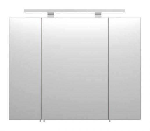 Badmöbel Rima Spiegelschrank in Walnuss-weiß inkl. Beleuchtung