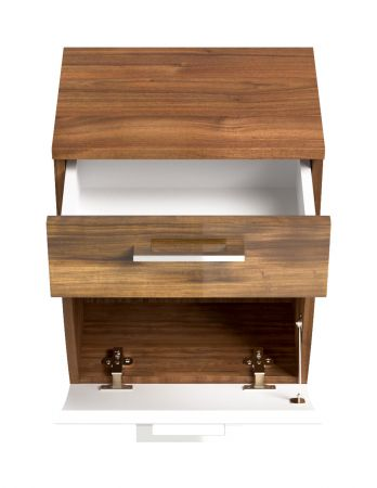 Badmöbel Hängeschrank Rima in Walnuss und weiß Hochglanz Badschrank 40 x 53 cm Badezimmer Kommode hängend