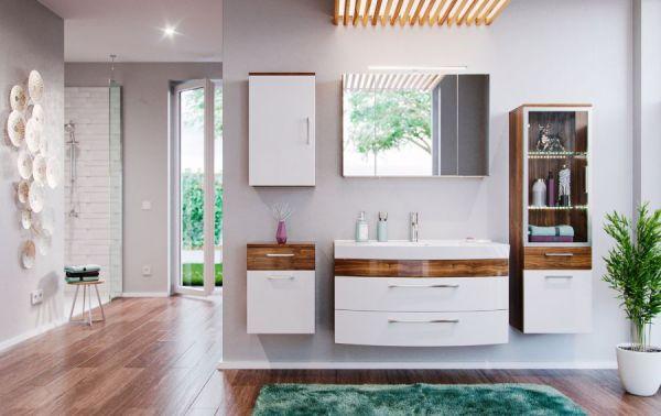 Badmöbel Hängeschrank Rima in Walnuss und weiß Hochglanz Badschrank hängend 40 x 68 cm Badezimmer