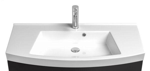 Badmöbel Rima Waschplatz weiß Anthrazit Hochglanz inkl. Waschbecken Breite 100 cm