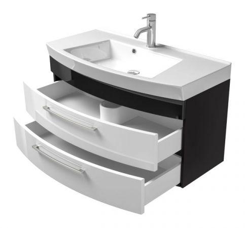 Waschbeckenunterschrank Rima in anthrazit und weiß Hochglanz Waschplatz hängend inkl. Waschbecken Set 2-tlg. 100 x 57 cm
