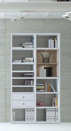 Wohnwand Bücherwand Dekor Lack weiß Hochglanz Eiche Natur LED-Beleuchtung Breite 122 cm