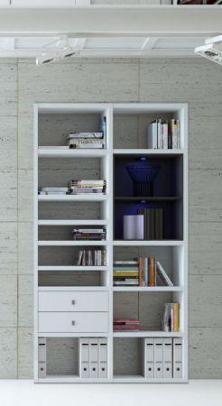 Wohnwand Bücherwand Dekor Lack weiß Hochglanz LED-Beleuchtung Breite 122 cm