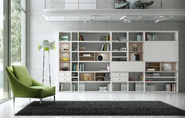 Wohnwand Bücherwand MDor Dekor Lack weiß matt Eiche Natur LED-Beleuchtung Breite 430 cm