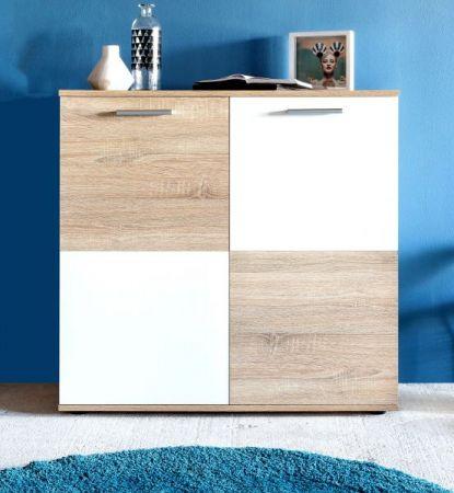 Flur Kommode Schuhschrank Compare in weiß Dekor und Eiche Sägerau hell 92 x 91 cm