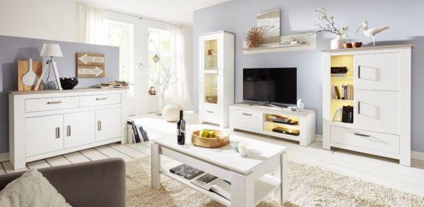 Esstisch Pinie in Struktur weiß Holztisch ausziehbar 160 bis 200 cm