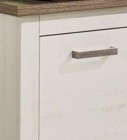Waschbeckenunterschrank Landhaus weiß Pinie und Nelson Eiche Dekor Badezimmer Lotte 90 cm