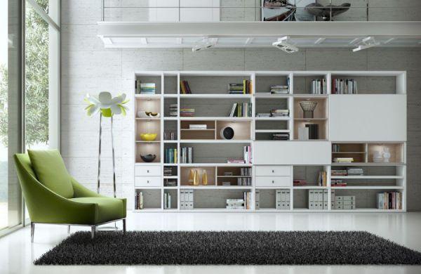Wohnwand Bücherwand Dekor Lack weiß Hochglanz Eiche Natur LED-Beleuchtung Breite 241 cm