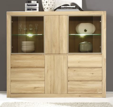 sideboard vitrine ponto eiche bianco massiv. Black Bedroom Furniture Sets. Home Design Ideas