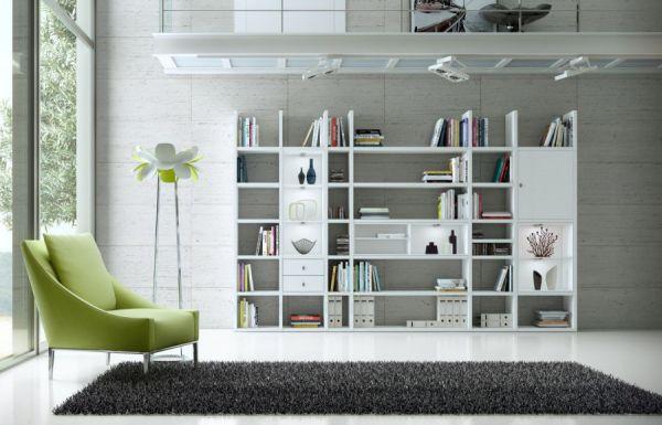 Wohnwand Bücherwand MDor Dekor Lack weiß matt schwarz LED-Beleuchtung Breite 343 cm