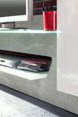 Wohnwand in Glanz weiß und Beton grau Design Breite 260 cm inkl. Beleuchtung Air Media