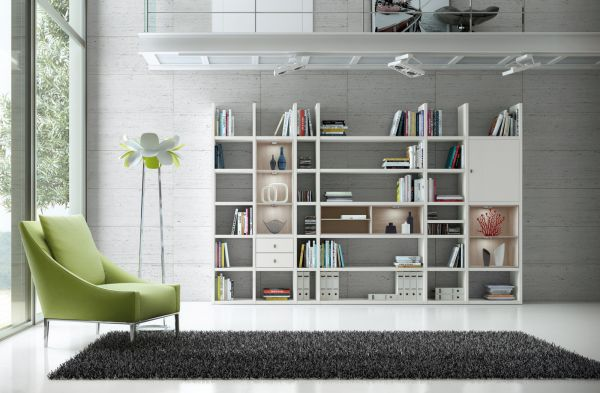 Wohnwand Bücherwand MDor Dekor Lack weiß matt Eiche Natur LED-Beleuchtung Breite 343 cm