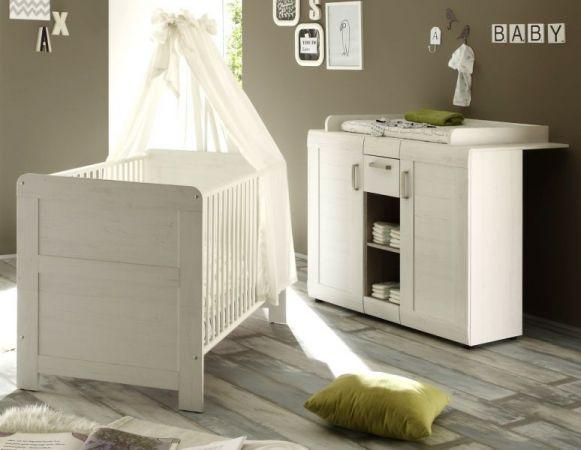 Babyzimmer Babybett und Wickelkommode Landi in Anderson Pinie weiß 2 teilig