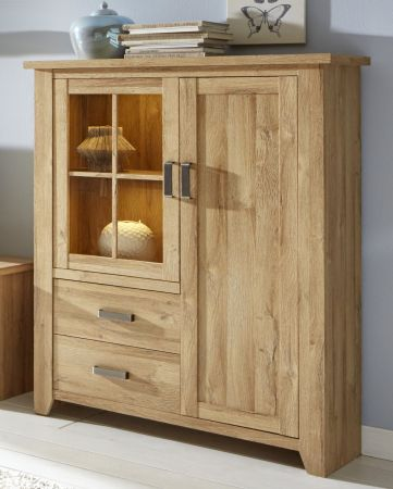 Vitrine Highboard in Eiche - Alteiche Dekor 113x144 cm Vitrinenschrank Canyon