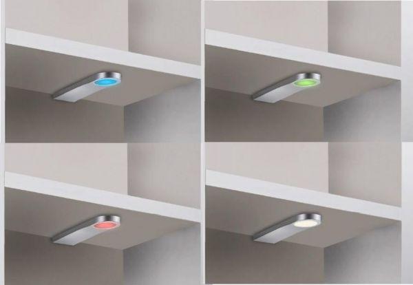 Wohnwand Bücherwand MDor Dekor Lack weiß matt LED-Beleuchtung Breite 343 cm