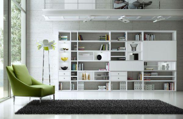 Wohnwand Bücherwand MDor Dekor Lack weiß matt LED-Beleuchtung Breite 298 cm