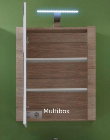 LED Spiegellampe Badlampe Gemo in Chrom für Spiegelschränke mit Multibox