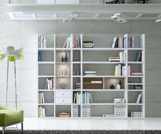 Wohnwand Bücherwand Dekor Lack weiß Hochglanz Eiche Natur LED-Beleuchtung Breite 284 cm