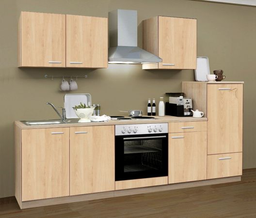 Küchenblock Einbauküche Classic inkl. E-Geräte 270 cm breit in Eiche Sonoma Dekor