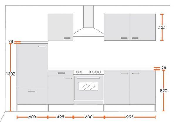 Küchenblock Einbauküche Classic inkl. E-Geräte 270 cm breit in weiß matt