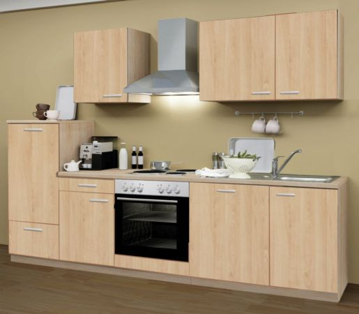 Küchenblock Einbauküche Classic inkl. E-Geräte + Geschirrspüler 280 cm breit in Eiche Sonoma Dekor