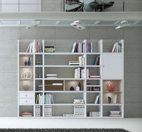 Wohnwand Bücherwand MDor Dekor Lack weiß Hochglanz schwarz LED-Beleuchtung Breite 298 cm