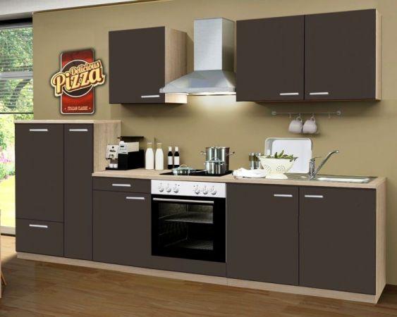 Küchenblock Einbauküche Classic 300 cm Einbauküche inkl. E-Geräte und Apothekerschrank in Lava grau