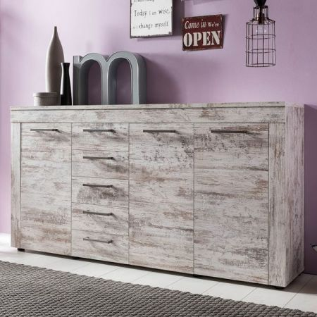 Sideboard Kommode River Canyon Pinie weiß Vintage Shabby Chic Breite 176 cm