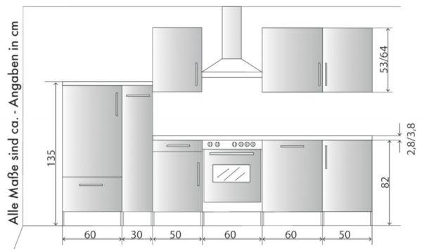 Küchenblock Einbauküche Classic inkl. E-Geräte + Geschirrspüler 310 cm breit in Eiche Lava grau