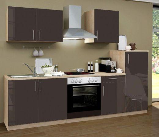 Küchenblock Einbauküche Premium inkl. E-Geräte 270 cm breit in Lava grau Hochglanz