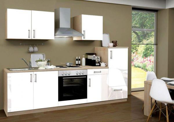 Küchenblock Einbauküche Premium inkl. E-Geräte 270 cm breit in Hochglanz weiß