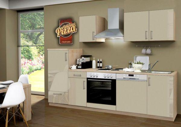 Küchenblock Einbauküche Premium inkl. E-Geräte + Geschirrspüler 270 cm breit in Sahara Eiche Hochglanz