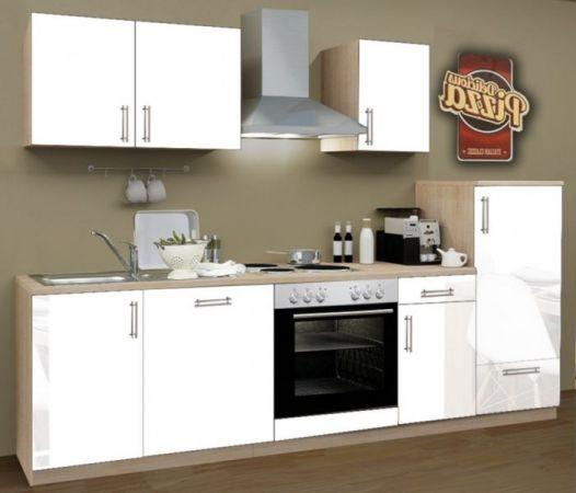Küchenblock Einbauküche Premium inkl. E-Geräte + Geschirrspüler 270 cm breit in Hochglanz weiß