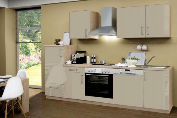 Küchenblock Einbauküche Premium inkl. E-Geräte + Geschirrspüler 280 cm breit in Sahara Eiche Hochglanz