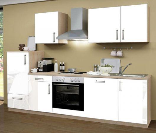 Küchenblock Einbauküche Premium inkl. E-Geräte + Geschirrspüler 280 cm breit in Hochglanz weiß